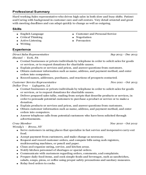 Direct Sales Representative resume format Nebraska