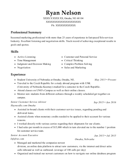 Senior Customer Service Advisor resume format Nebraska