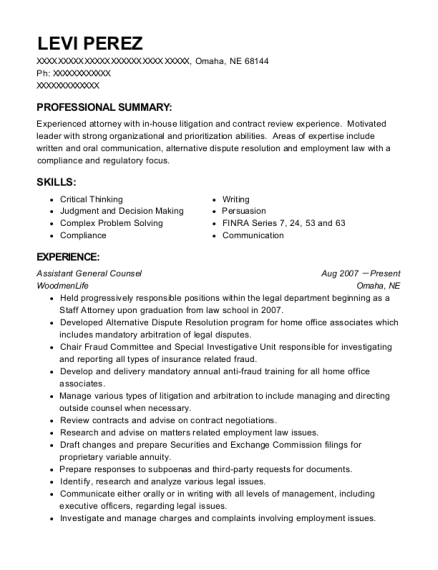 Assistant General Counsel resume example Nebraska