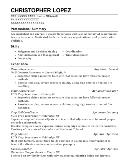 Claims Supervisor resume format Nebraska