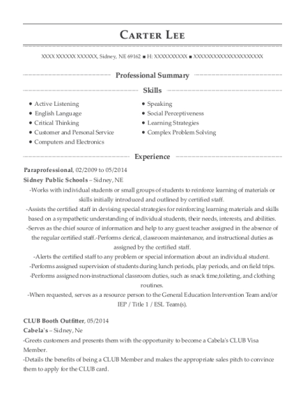 Paraprofessional resume template Nebraska