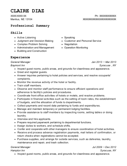 General Manager resume sample Nebraska