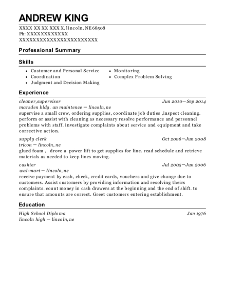 cleaner resume template Nebraska