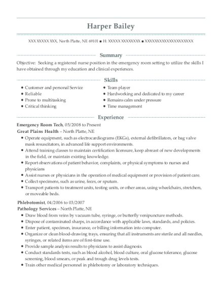 Emergency Room Tech resume sample Nebraska