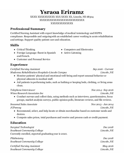 Certified Nursing Assistant resume sample Nebraska