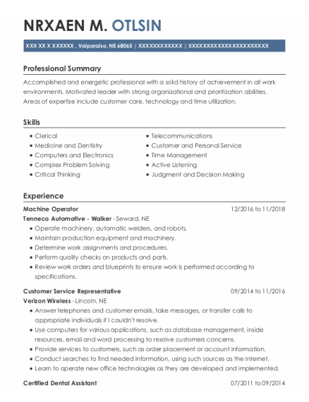 Machine Operator resume template Nebraska