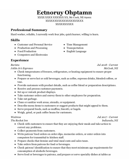 Barista resume sample Nebraska