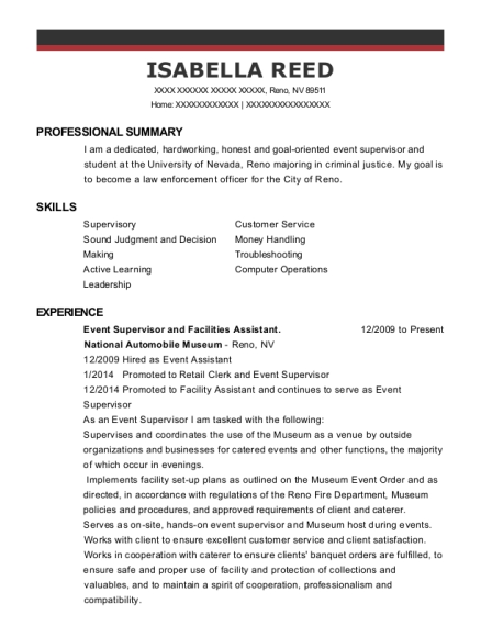 Event Supervisor and Facilities Assistant resume sample Nevada
