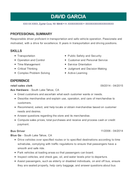 retail sales clerk resume format Nevada