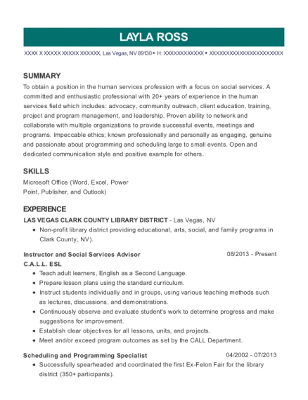 Instructor and Social Services Advisor resume format Nevada