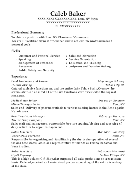 Lead Bartender and Server resume format Nevada