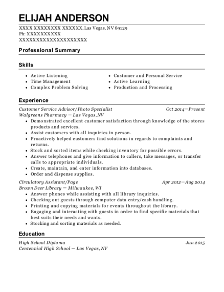 Customer Service Advisor resume template Nevada