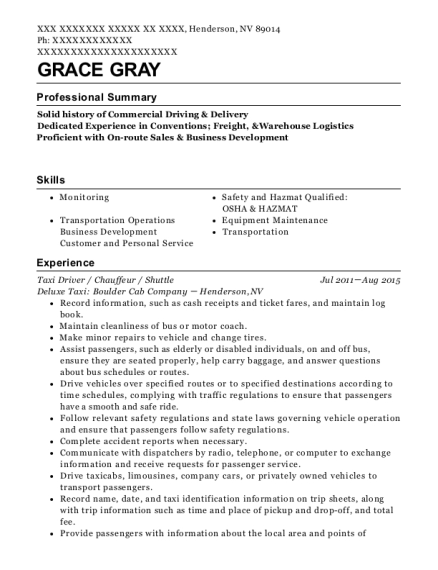 Taxi Driver resume template Nevada