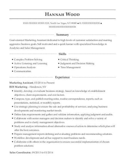 Marketing Assistant resume sample Nevada