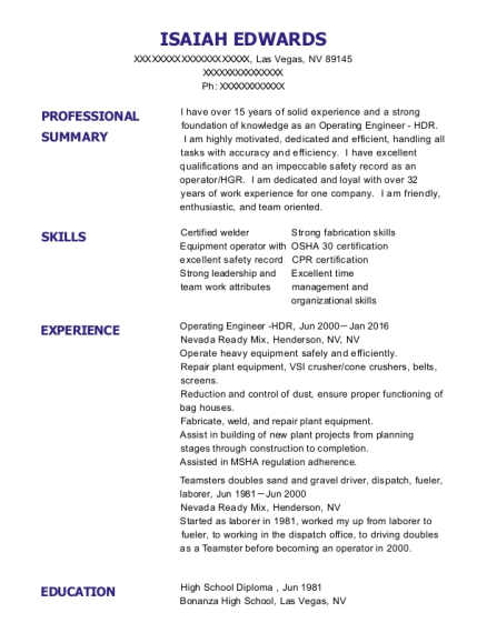 Operating Engineer HDR resume format Nevada