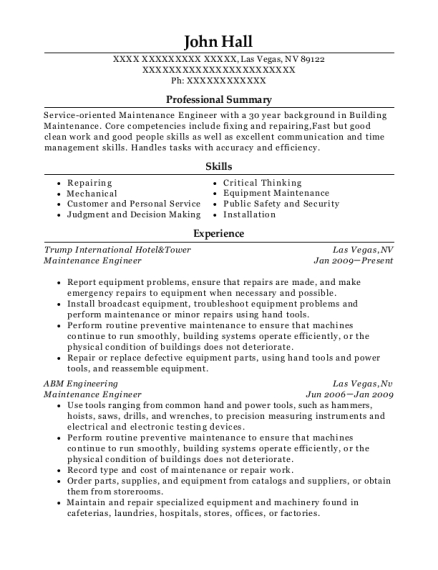 Maintenance Engineer resume template Nevada