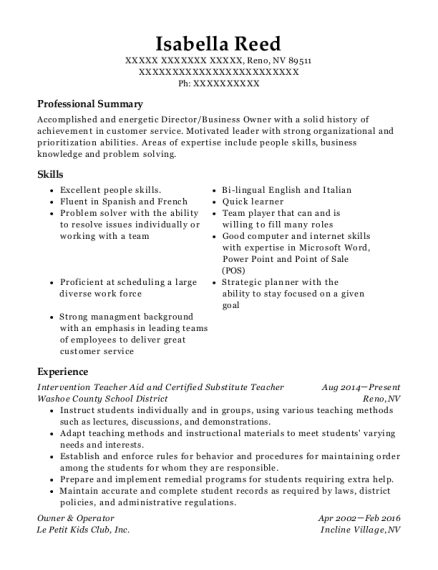Intervention Teacher Aid and Certified Substitute Teacher resume template Nevada