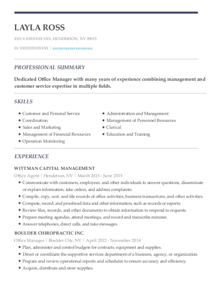 Office Agent resume example Nevada