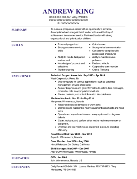 Technical Support Associate resume example Nevada