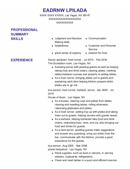 Server assistant resume example Nevada