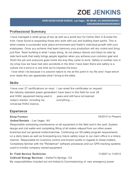 Shop Forman resume template Nevada