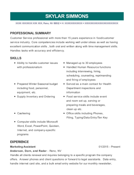 Marketing Assistant resume format Nevada
