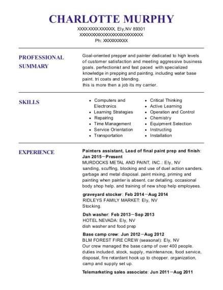 Painters assistant resume template Nevada