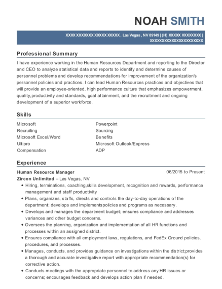 Human Resource Manager resume format Nevada
