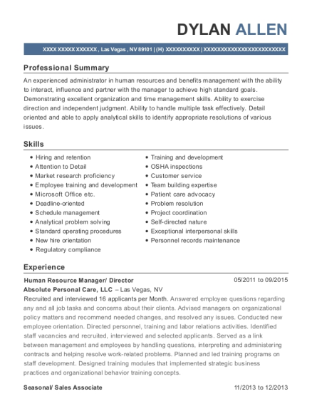 Human Resource Manager resume template Nevada