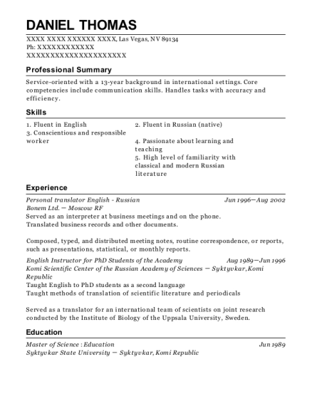 Personal translator English Russian resume example Nevada