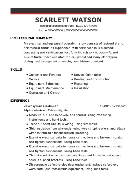 Journeyman electrician resume format Nevada