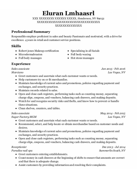 Sales Assoicate resume example Nevada