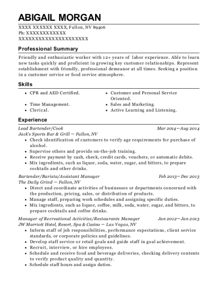 Lead Bartender resume template Nevada