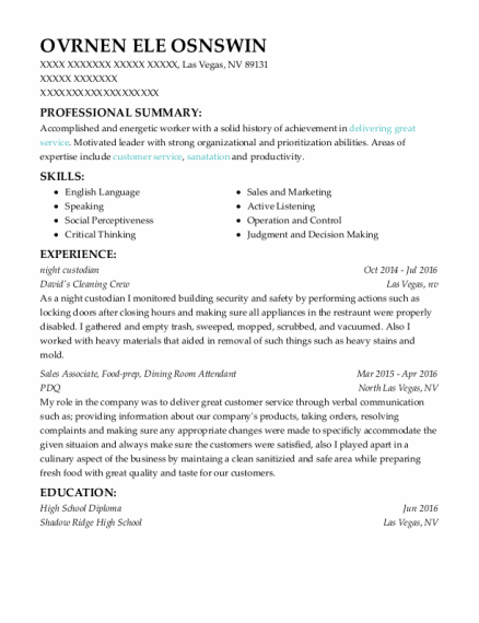 Night Custodian resume sample Nevada