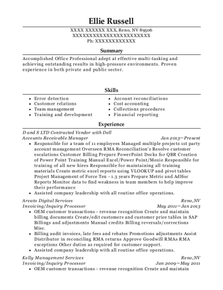 Accounts Receivable Manager resume example Nevada