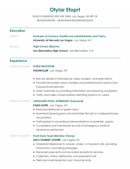 Guest Relations resume format Nevada