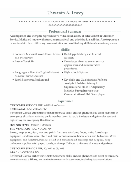CUSTOMER SERVICE REP resume example Nevada