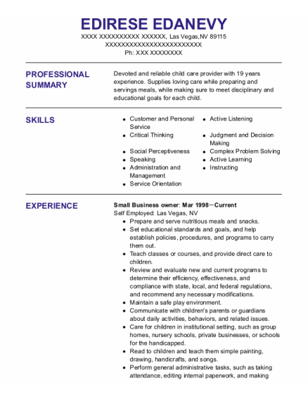 Small Business Owner resume format Nevada