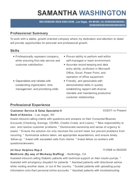 Customer Service & Sales Specialist II resume sample Nevada