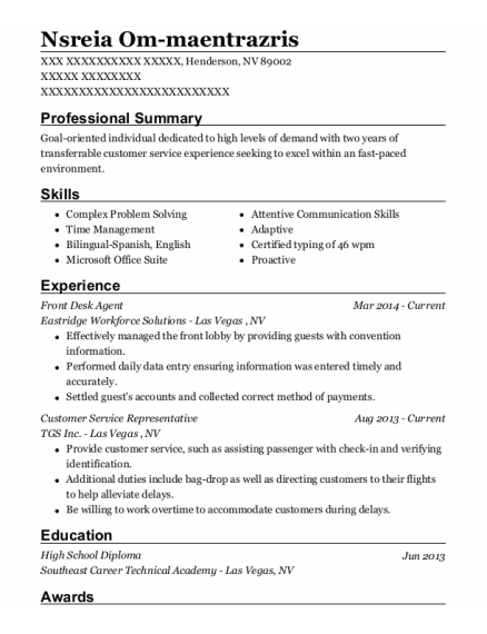 Front Desk Agent resume template Nevada