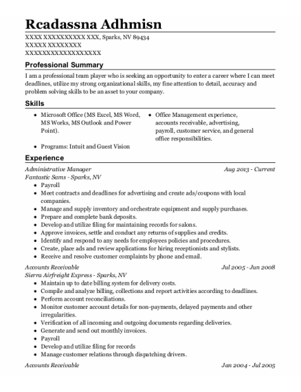 Administrative Manager resume example Nevada