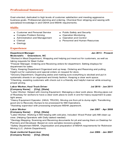 Department Manager resume sample Nevada
