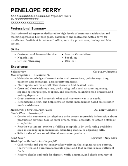 Salesperson resume example Nevada