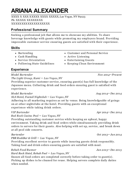 Model Bartender resume example Nevada