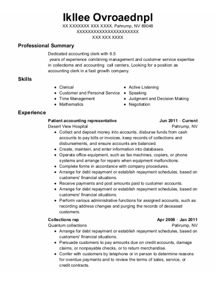 Collections Rep resume example Nevada