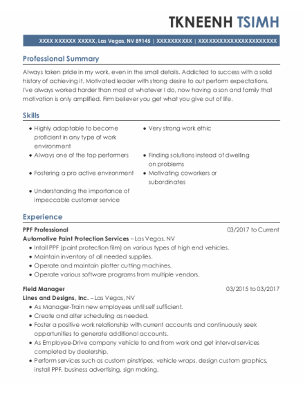 Field Manager resume sample Nevada
