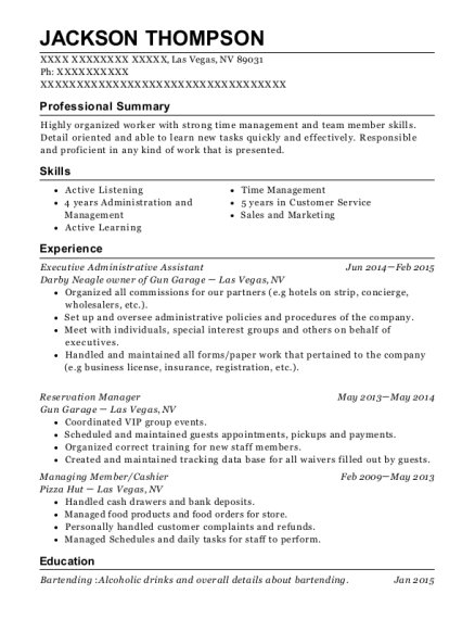 Executive Administrative Assistant resume example Nevada