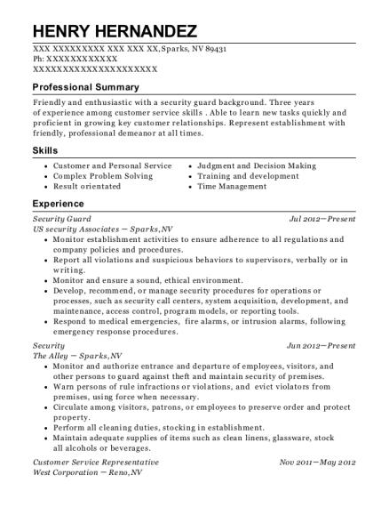 Security Guard resume example Nevada