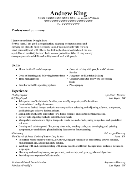 Photographer resume example Nevada