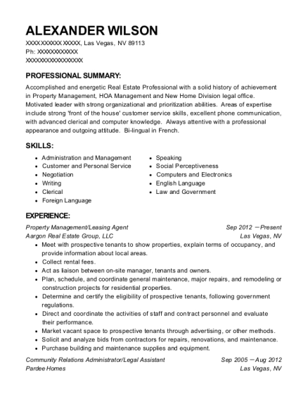 Property Management resume example Nevada